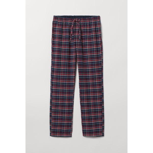 H&M Flanelowe spodnie piżamowe 0543035017 Ciemnoniebieski/Czerwona krata