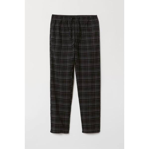 H&M Flanelowe spodnie piżamowe 0543035017 Czarny/Szara krata