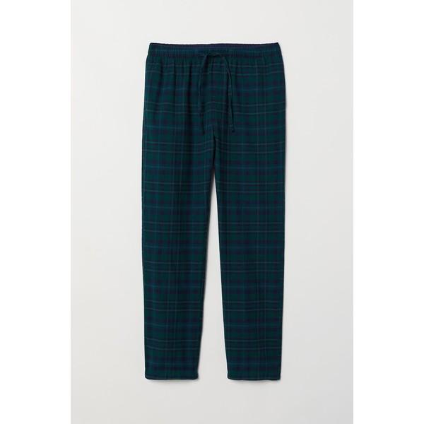 H&M Flanelowe spodnie piżamowe 0543035017 Ciemnozielony/Niebieska krata