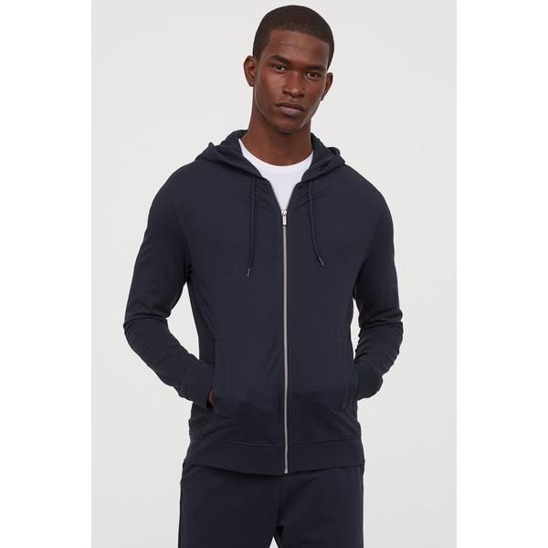 H&M Bluza z kapturem Slim Fit 0805455008 Ciemnoniebieski