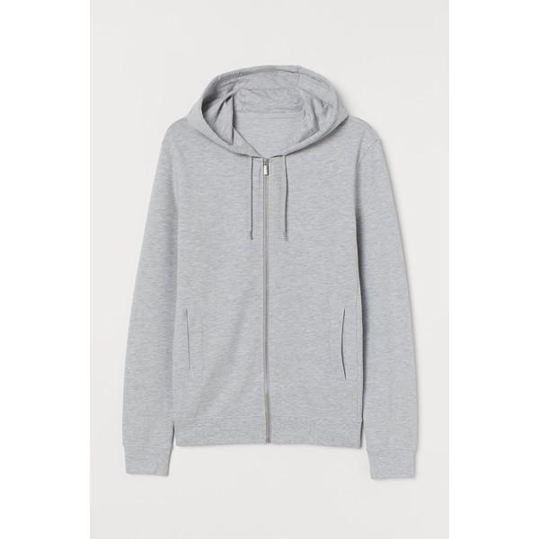 H&M Bluza z kapturem Slim Fit 0805455008 Jasnoszary melanż