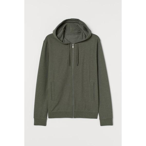 H&M Bluza z kapturem Slim Fit 0805455008 Zieleń khaki