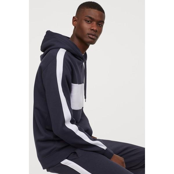 H&M Bluza z kapturem 0734461001 Ciemnogranatowy/Biały