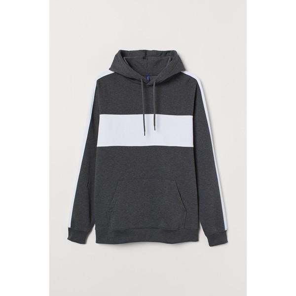 H&M Bluza z kapturem 0734461001 Ciemnoszary/Biały