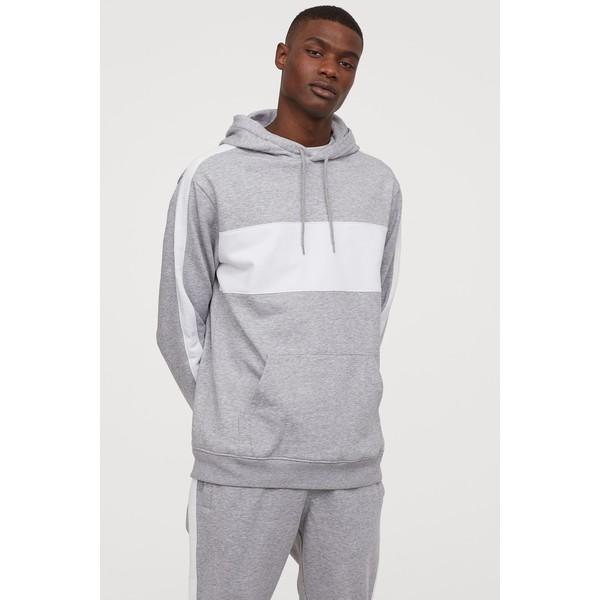 H&M Bluza z kapturem 0734461001 Jasnoszary melanż/Biały
