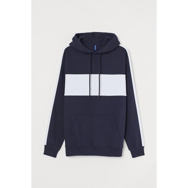 H&M Bluza z kapturem 0734461001 Granatowy/Biały