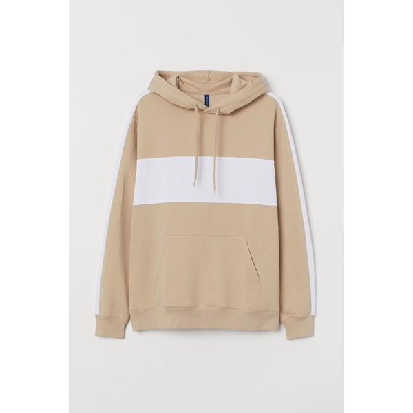 H&M Bluza z kapturem 0734461001 Beżowy/Biały