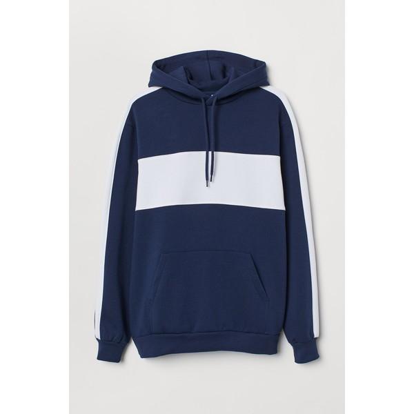H&M Bluza z kapturem 0734461001 Ciemnoniebieski/Biały