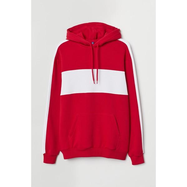 H&M Bluza z kapturem 0734461001 Czerwony/Biały