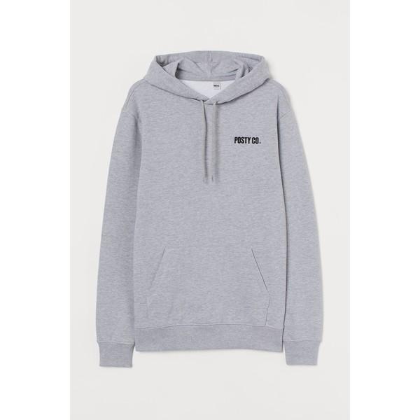 H&M Bluza z kapturem 0846933024 Szary melanż/Post Malone