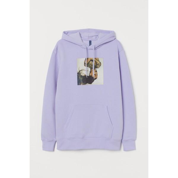 H&M Bluza z kapturem 0846933024 Jasnofioletowy/Ariana Grande