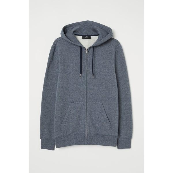 H&M Bluza z kapturem Regular Ft 0669091042 Niebieski melanż