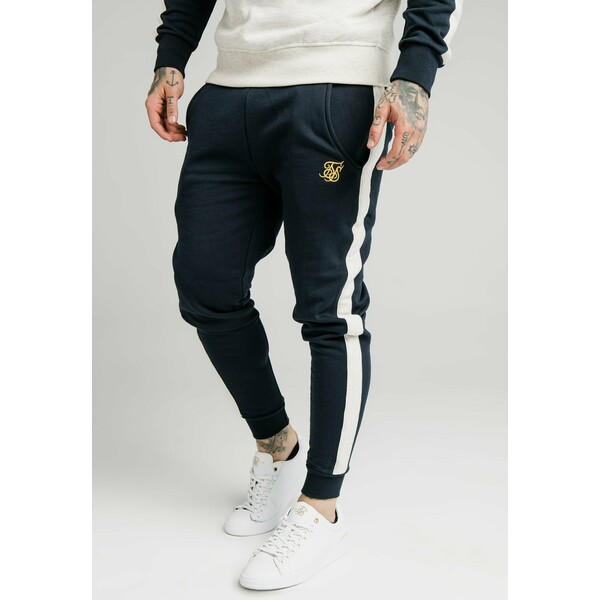 SIKSILK CUT AND SEW JOGGERS Spodnie treningowe navy/cream SIF22E03M