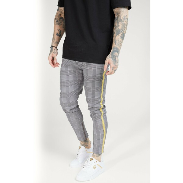 SIKSILK FITTED SMART TAPE JOGGER PANT Spodnie materiałowe grey/yellow SIF22E02U