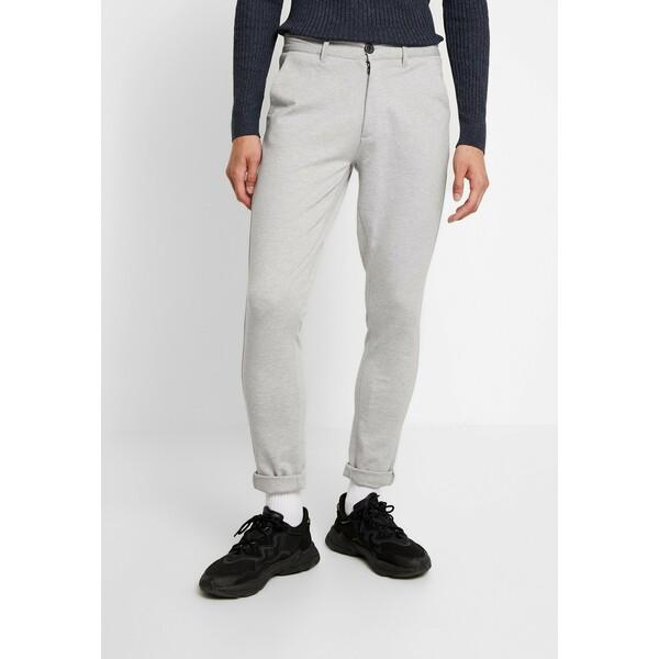 Denim Project PONTE ROMA PLAIN Spodnie materiałowe light grey melange DEO22E000