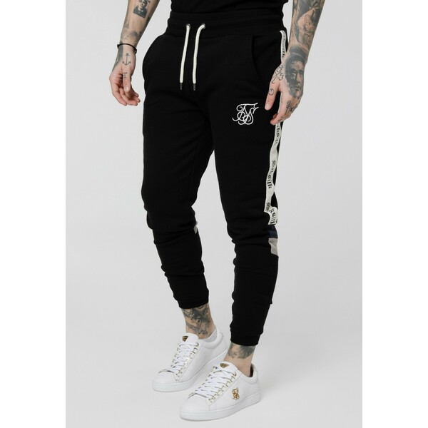 SIKSILK RETRO PANEL TAPE Spodnie treningowe black SIF22E03N