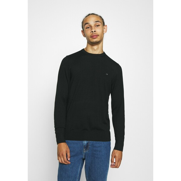 Calvin Klein Tailored SUPERIOR CREW NECK Sweter black 6CA22Q01D