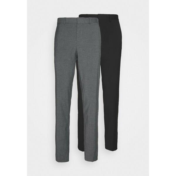 Burton Menswear London 2 PACK Spodnie materiałowe black M0822E0A0