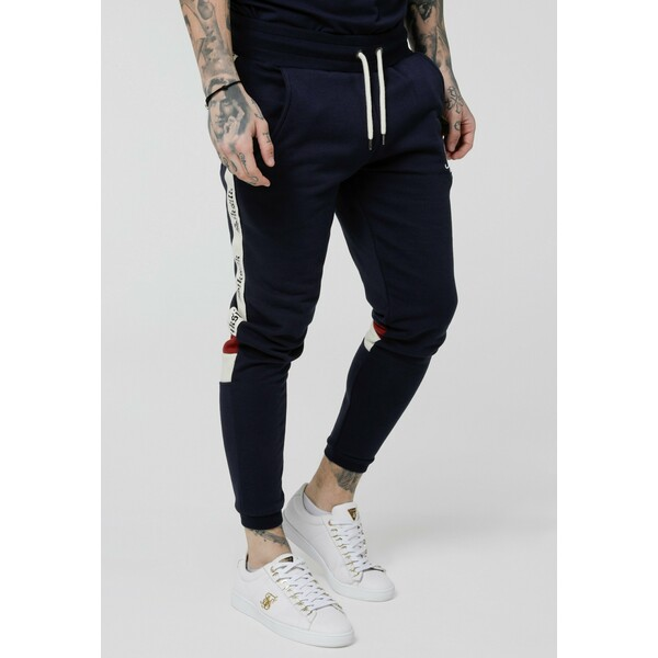SIKSILK RETRO PANEL TAPE Spodnie treningowe navy/red/off white SIF22E01P