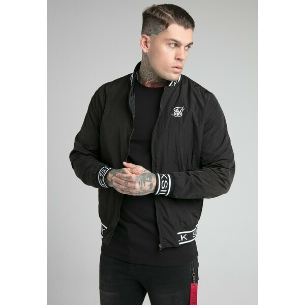 SIKSILK CRUSHED JACKET Kurtka Bomber black SIF22T01O
