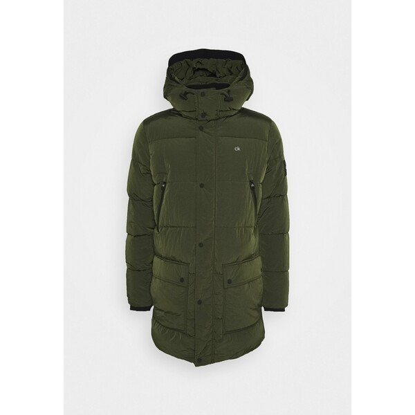 Calvin Klein CRINKLE LONG LENGTH JACKET Płaszcz zimowy green 6CA22T01P