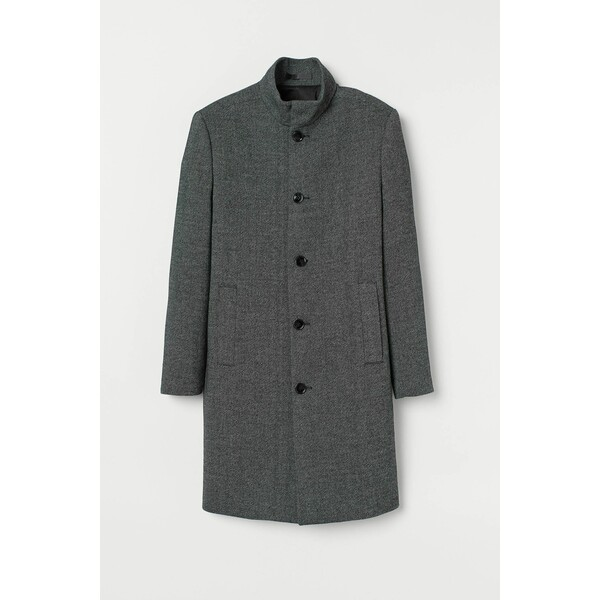 H&M Płaszcz z domieszką wełny 0811551001 Ciemnoszary melanż
