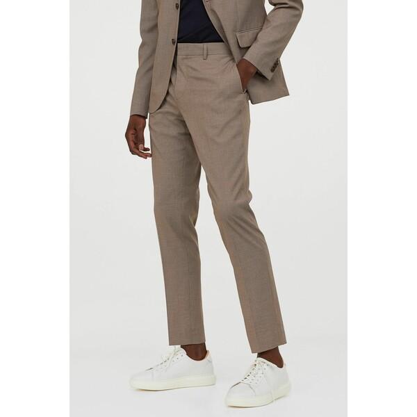 H&M Spodnie garniturowe Skinny Fit 0714032017 Beżowy melanż