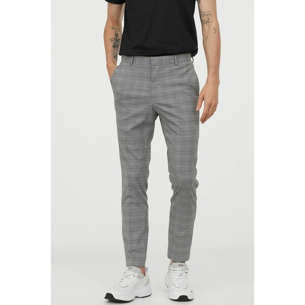 H&M Spodnie garniturowe Skinny Fit 0714032017 Szary/Krata