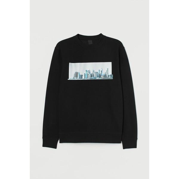 H&M Bluza z nadrukiem 0779633012 Czarny/Odblaskowy