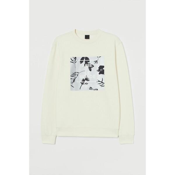 H&M Bluza z nadrukiem 0779633012 Kremowy