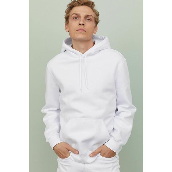 H&M Bluza z kapturem Relaxed Fit 0685814050 Biały
