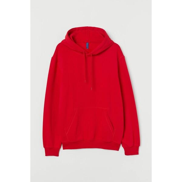 H&M Bluza z kapturem Relaxed Fit 0685814050 Czerwony
