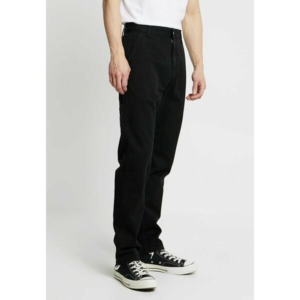 Carhartt WIP RUCK SINGLE KNEE PANT MILLINGTON Spodnie materiałowe black stone washed C1422E01B
