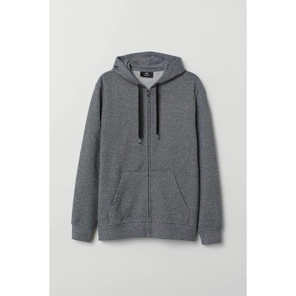 H&M Bluza z kapturem Regular Fit 0669091018 Czarny/Biały melanż