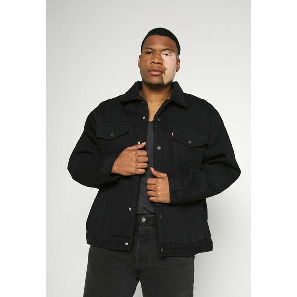 Levi's® Plus BIG SHERPA TRUCKER Kurtka jeansowa black denim L0M22T000