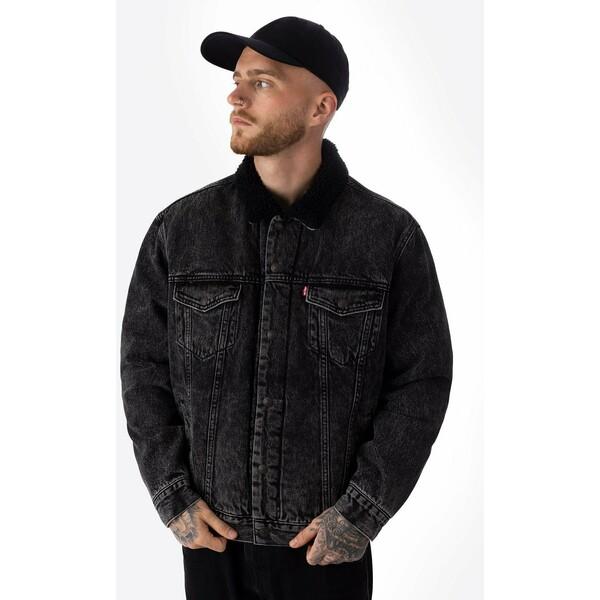 Levi's® TYPE 3 SHERPA TRUCKER Kurtka jeansowa black LE222T03G