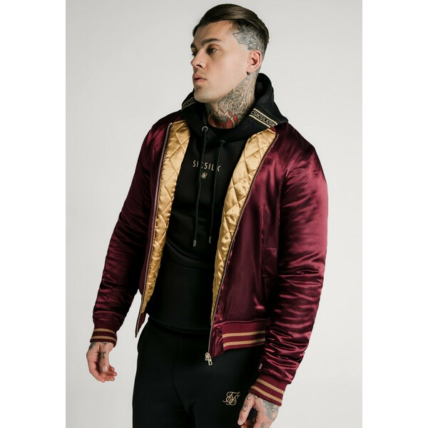 SIKSILK JACKET Kurtka Bomber burgundy/gold-coloured SIF22T03E