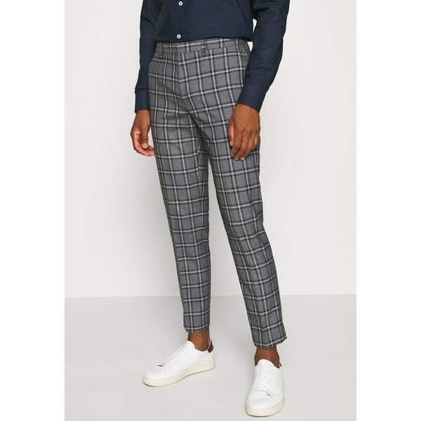 Burton Menswear London GREY NAVY TARTAN TROUSERS Spodnie garniturowe grey M0822A0CJ