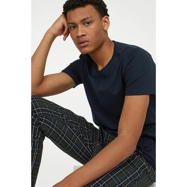 H&M Spodnie piżamowe 0523936045 Ciemnozielony/Krata
