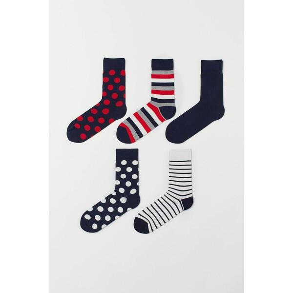 H&M Skarpety 5-pak 0584631084 Czerwony/Kropki
