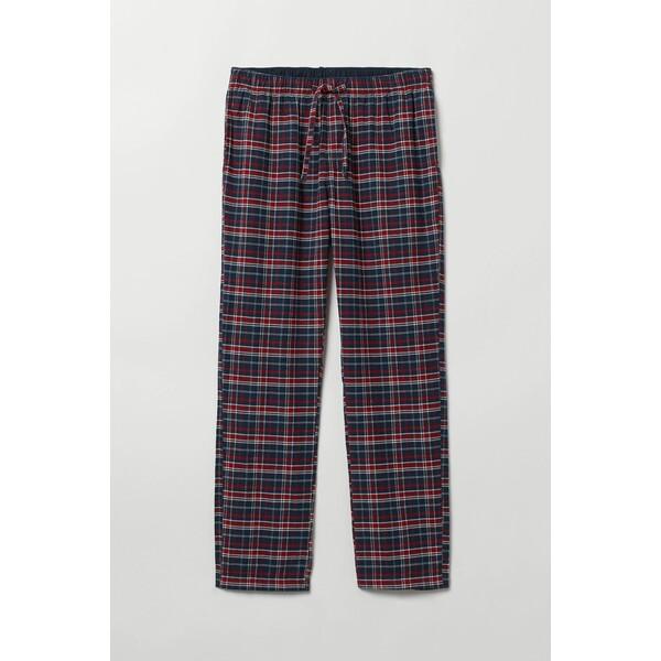 H&M Flanelowe spodnie piżamowe 0543035016 Ciemnoniebieski/Czerwona krata
