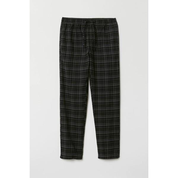 H&M Flanelowe spodnie piżamowe 0543035016 Czarny/Szara krata