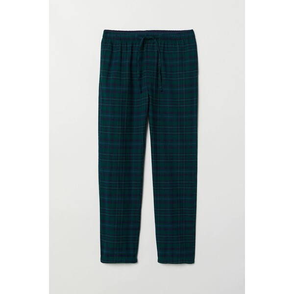 H&M Flanelowe spodnie piżamowe 0543035016 Ciemnozielony/Niebieska krata