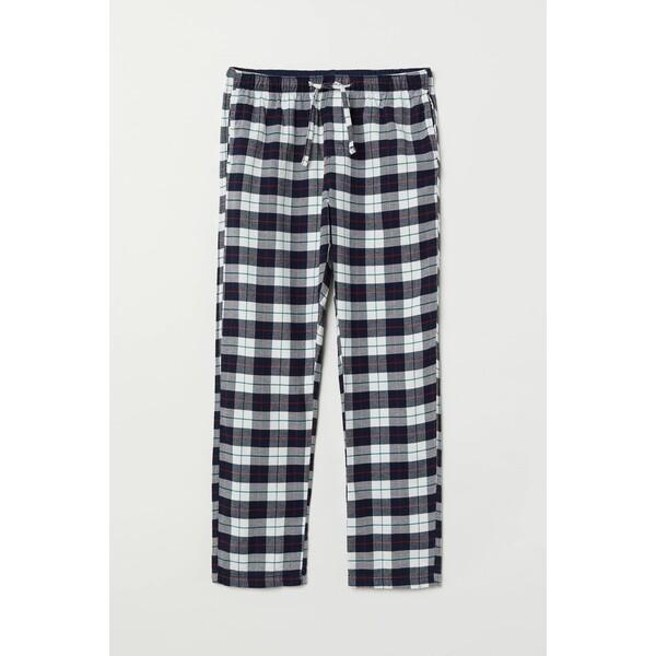 H&M Flanelowe spodnie piżamowe 0543035016 Biały/Ciemnoniebieska krata
