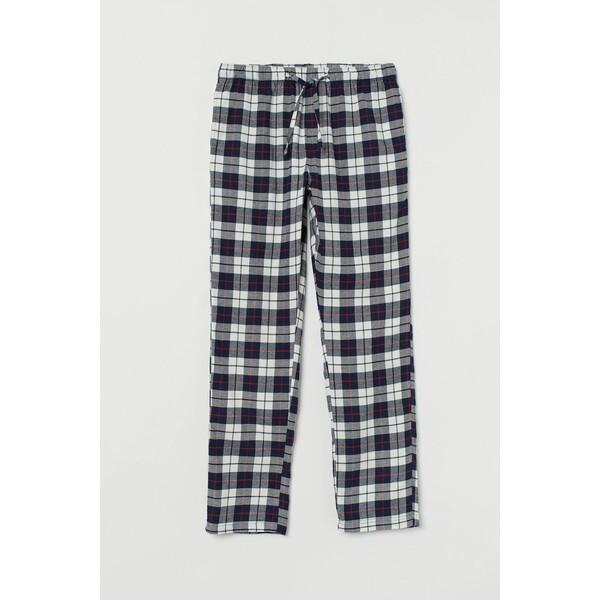 H&M Flanelowe spodnie piżamowe 0543035016 Ciemnoniebieski/Krata