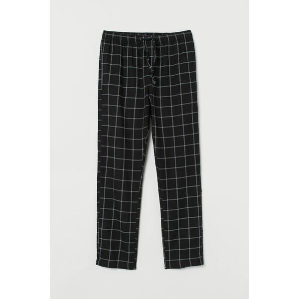 H&M Flanelowe spodnie piżamowe 0543035016 Czarny/Krata
