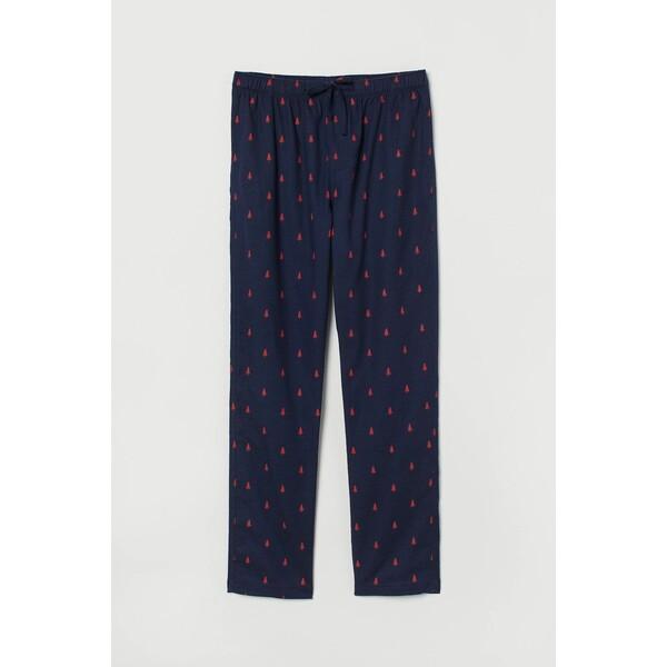 H&M Flanelowe spodnie piżamowe 0543035016 Ciemnoniebieski/Choinki