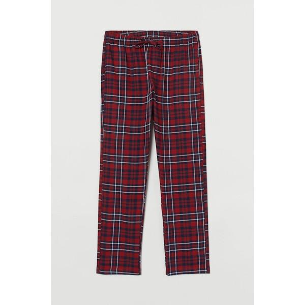 H&M Flanelowe spodnie piżamowe 0543035016 Czerwony/Niebieska krata