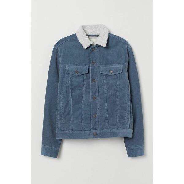 H&M Ocieplana kurtka sztruksowa 0688326019 Ciemny gołębi błękit