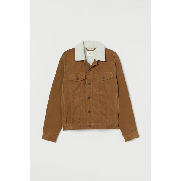 H&M Ocieplana kurtka sztruksowa 0688326019 Ciemnobeżowy